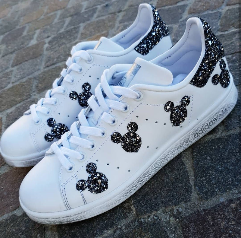Adidas Stan Smith Topolini Black Silver Glitter