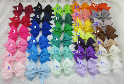 3.5 inch (8.75cm) Grosgrain ribbon Bow Hair Clips Pack of 5 for $10