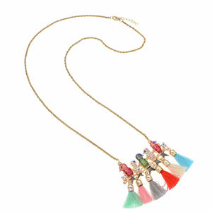 Five birds trendy pendant necklace with multicolor tassels top five birds trendy pendant necklace with multicolor tassels aloadofball Choice Image