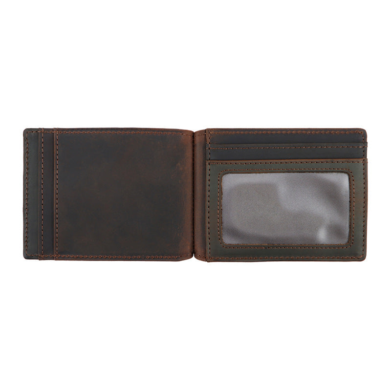 AD1015 Money Clip Wallet leather RFID protected Dark Brown