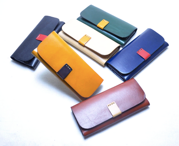 Glasses Case Leather Apricot