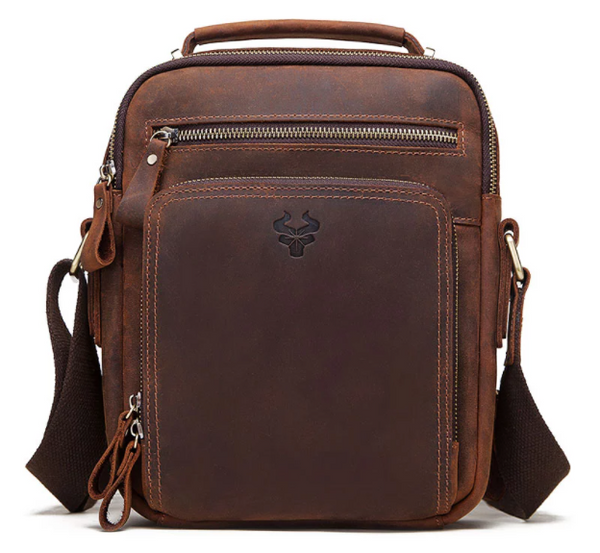 MH573 Humerpaul Shoulder Bag Crazyhorse Cowhide Leather Brown