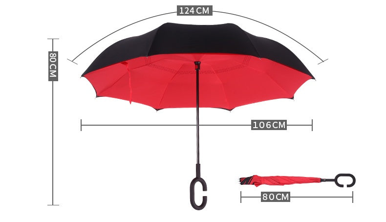 Newspaper Print (Black) Inverted Umbrella Manual Open & Close