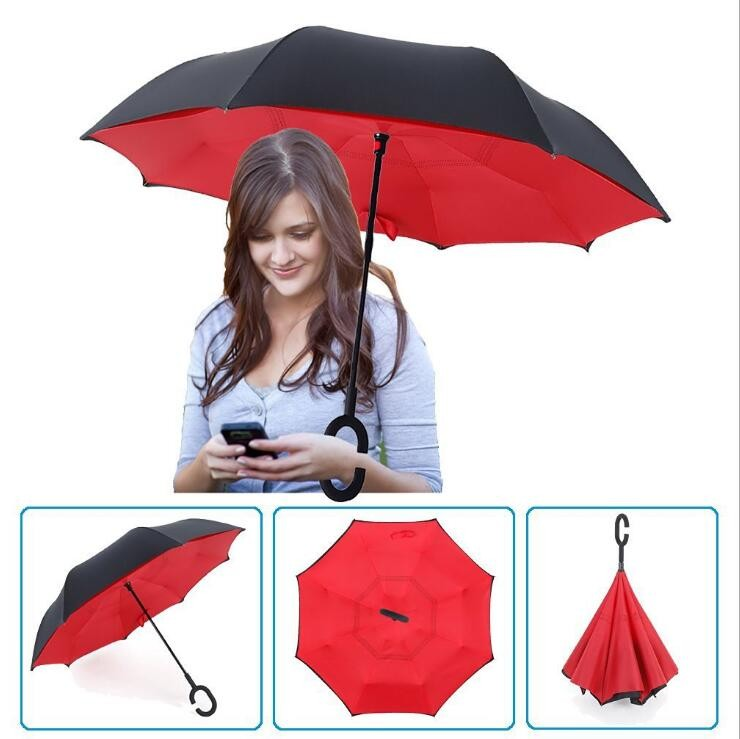 Light Blue Inverted Umbrella AUTO Open / MANUAL Close