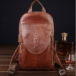 YLAN2083 Crocodile Backpack / Shoulder Bag Brown
