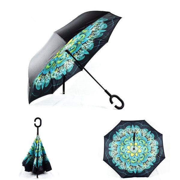 Aqua Flower Inverted Umbrella