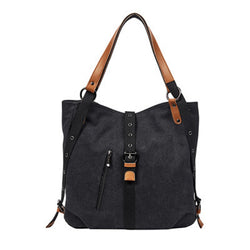 BP0505  Canvas with Leather Trim Backpack / Handbag Black