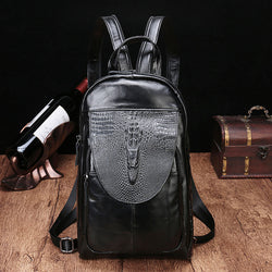 YLAN2083 Crocodile Backpack / Shoulder Bag Black