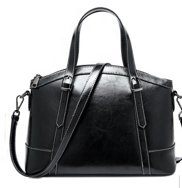 SXIN882 Oil Waxed Handbag Black