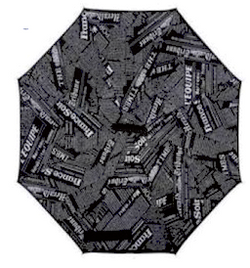 Newspaper Print (Black) Inverted Umbrella