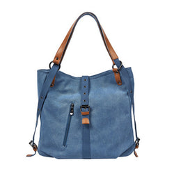 BP0505  Canvas with Leather Trim Backpack / Handbag Blue