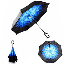 Blue Flower (Black Trim) Inverted Umbrella Manual Open & Close