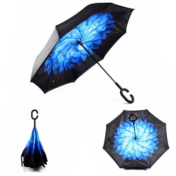 Blue Flower (Black Trim) Inverted Umbrella