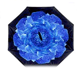 Dark Blue Flower Inverted Umbrella Manual Open & Close
