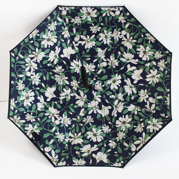 Blue, White & Green Floral Inverted Umbrella Manual Open & Close