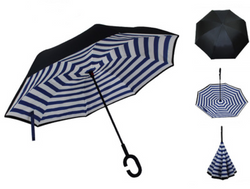 Blue and White Stripes Inverted Umbrella Manual Open & Close