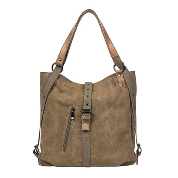 BP0505  Canvas with Leather Trim Backpack / Handbag Coffee