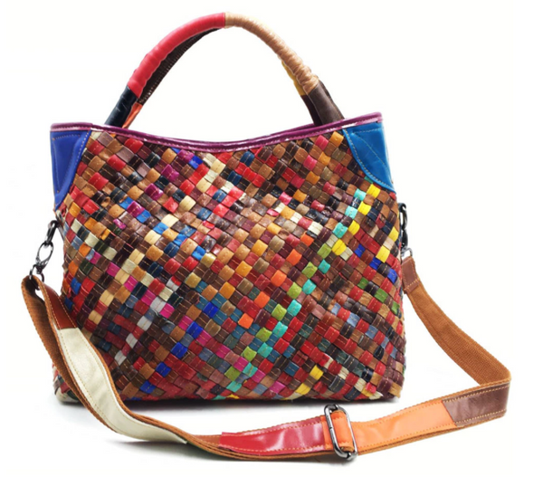 AD099 Small Harlequin Design Leather Totebag / Handbag