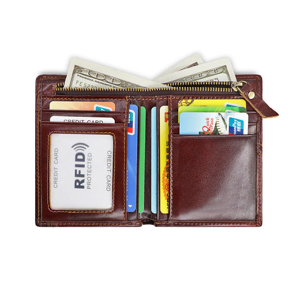 AD1059 Wallet leather RFID protected Chocolate