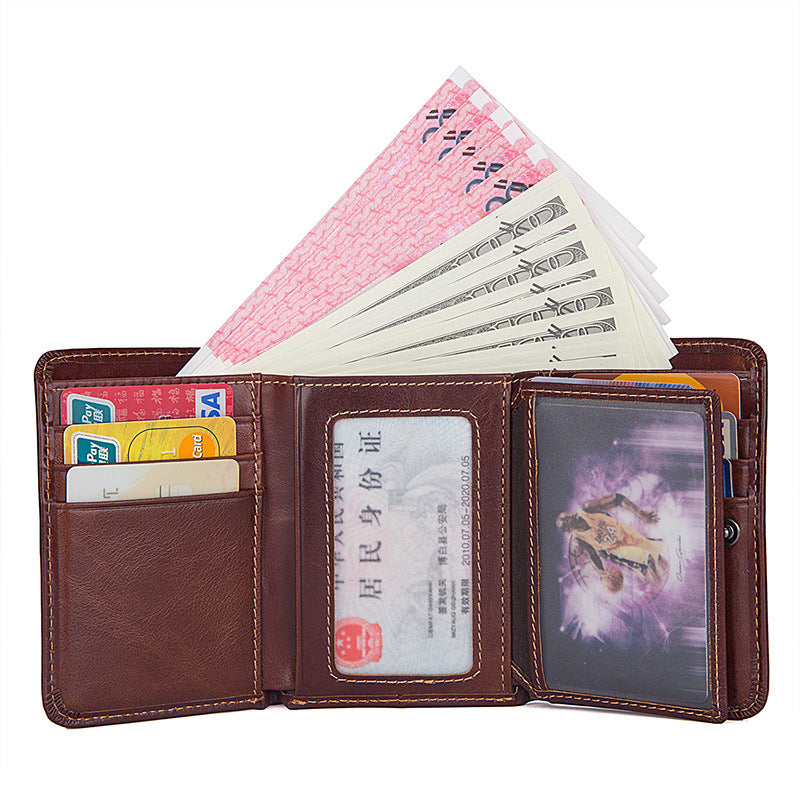 AD2176 Wallet leather RFID protected Red-brown