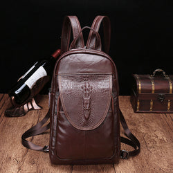 YLAN2083 Crocodile Backpack / Shoulder Bag Coffee