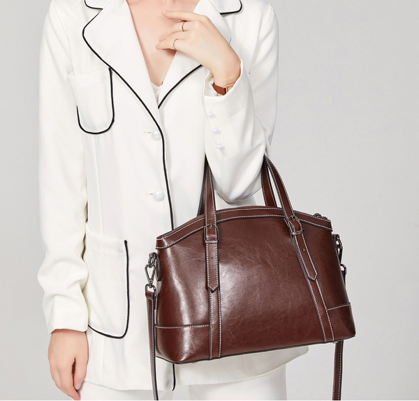 SXIN882 Oil Waxed Handbag Dark Brown