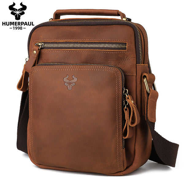 MH573 Humerpaul Shoulder Bag Crazyhorse Cowhide Leather Khaki