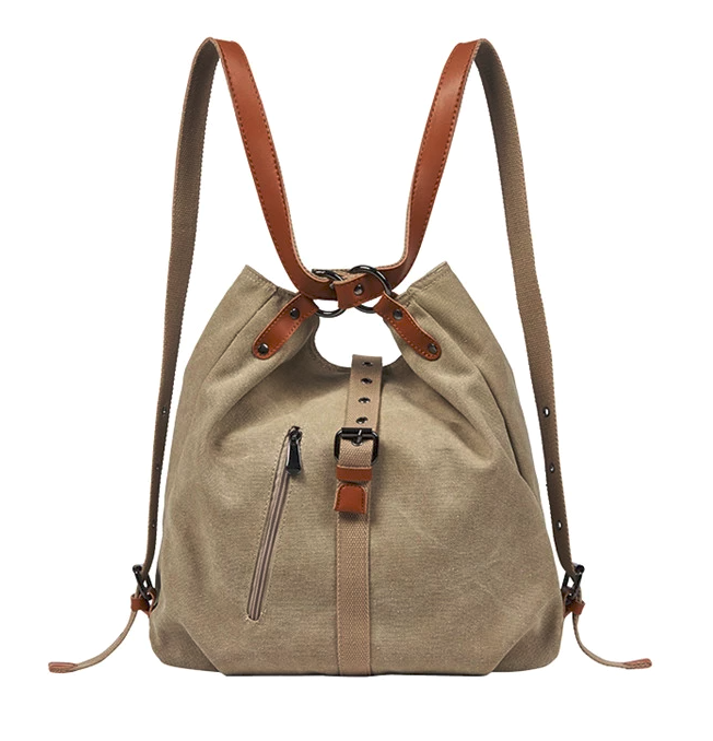 BP0505  Canvas with Leather Trim Backpack / Handbag Khaki