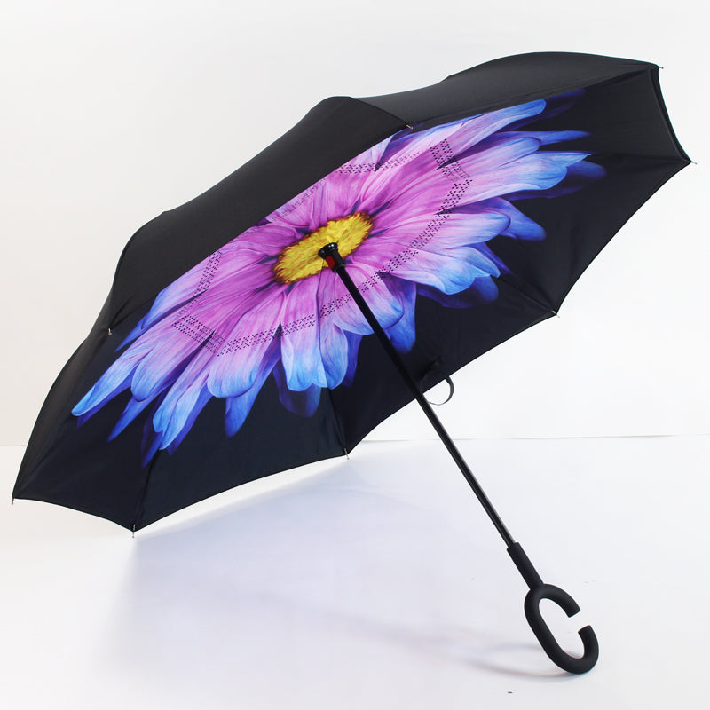 Mauve, Blue & Yellow Inverted Umbrella Manual Open & Close