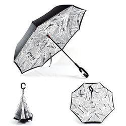 Newspaper Print (White) Inverted Umbrella Manual Open & Close