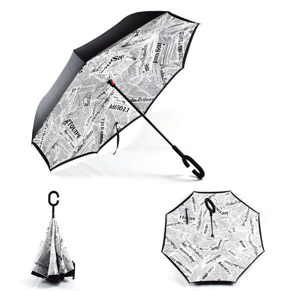 Newspaper Print (White) Inverted Umbrella