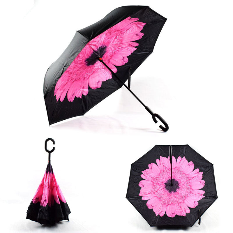 Pink Flower Inverted Umbrella Manual Open & Close