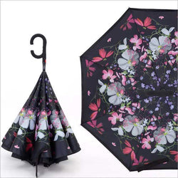 Pink, White, Silver Floral Inverted Umbrella AUTO Open / MANUAL Close