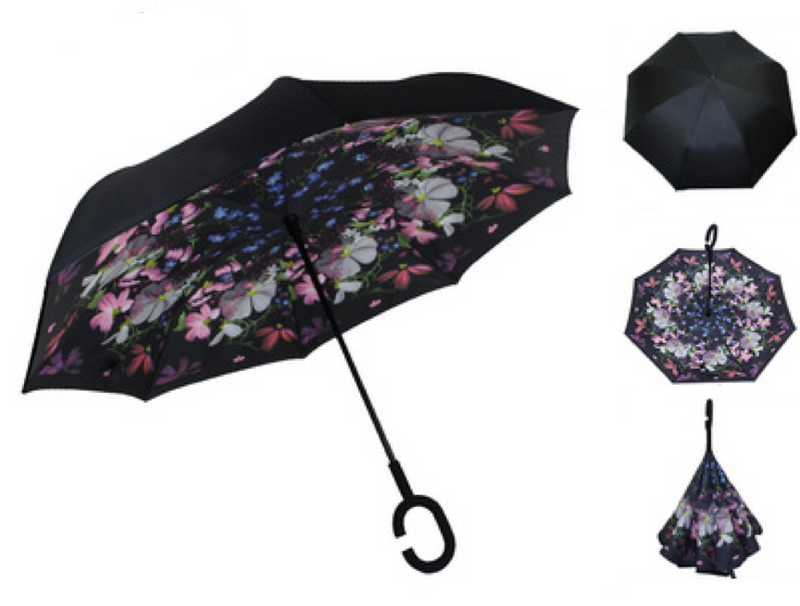 Pink and White Floral Inverted Umbrella