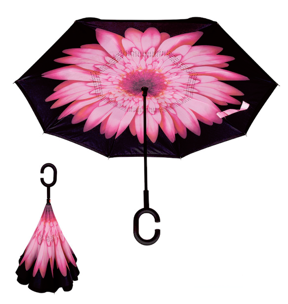 Pink Flower Inverted Umbrella AUTO Open / MANUAL Close