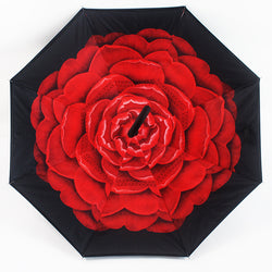 Red Flower Inverted Umbrella Manual Open & Close