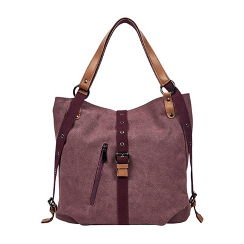 BP0505  Canvas with Leather Trim Backpack / Handbag Wine