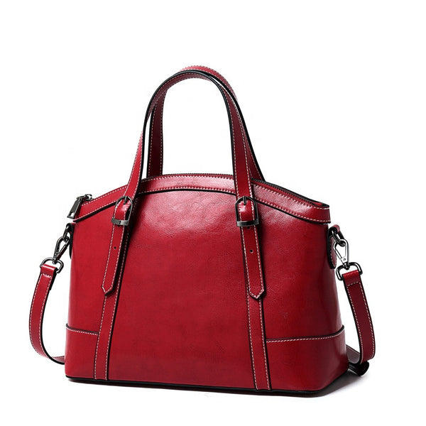 SXIN882 Oil Waxed Handbag Red