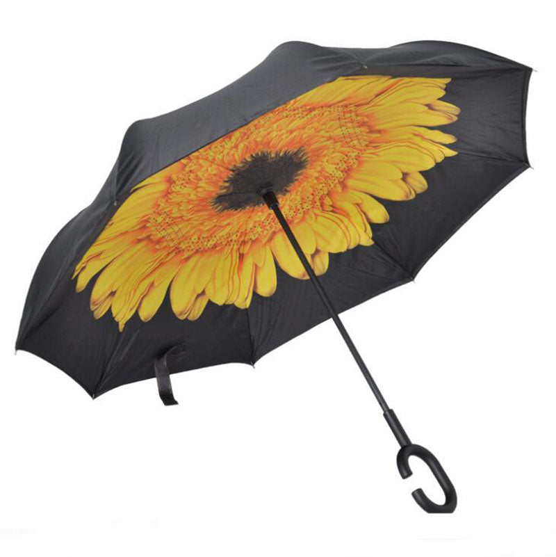 Yellow Flower Inverted Umbrella Manual Open & Close