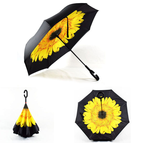 Yellow Flower Inverted Umbrella