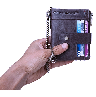 BP896 Hi-capacity Wallet leather RFID protected Coffee