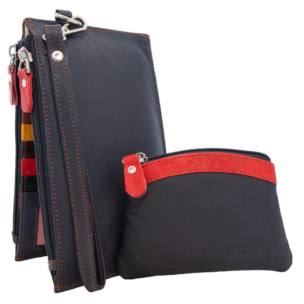 Navy Blue Gramon Ladies' Leather RFID Wallet