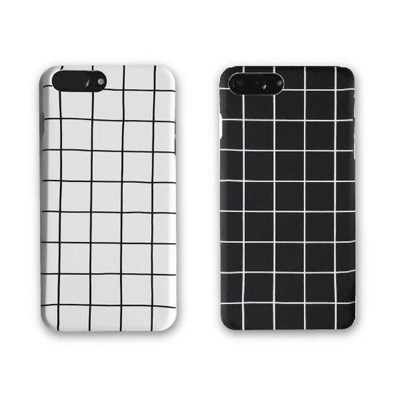 Retro Black & White Grid iPhone Case