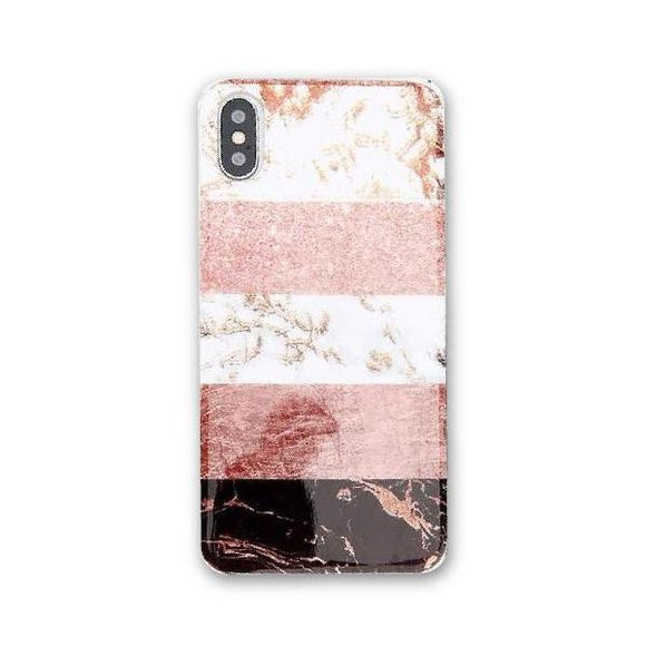 Marble Stripes Rose Gold iPhone Case