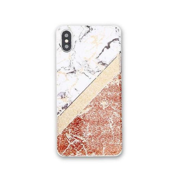 Marble Rose Gold Cross Stripes iPhone Case