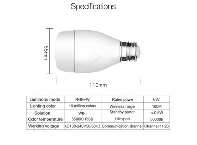 6W E27 240V WIFI Lamp Wireless LED Light Bulb