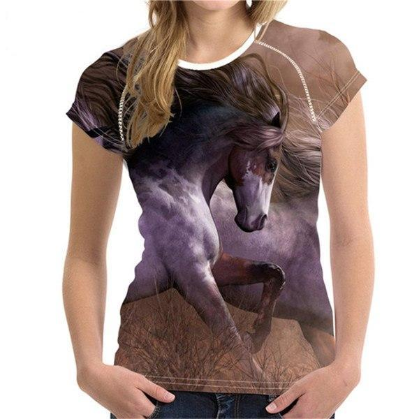 3D Crazy Horse Women T Shirt