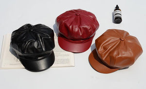 Leather Beret Hat Winter Hats
