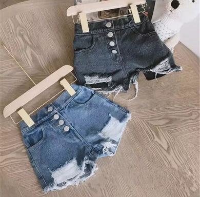 Denim button shorts