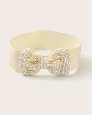 Girls Faux Pearl Bow Knot Decor Corset Belt